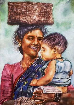 Mothers Love by Sabari Girish T, Expressionism Painting, Watercolor on Paper, Ash color