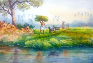 Village Life Landscape by Balakrishnan S, Impressionism Painting, Watercolor on Paper, Tiara color