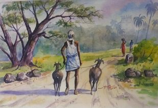 Village Life Landscape by Balakrishnan S, Impressionism Painting, Watercolor on Paper, Natural Gray color