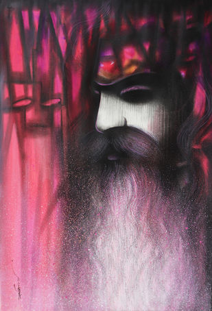 A Sadhu's Reminiscences by Somnath Bothe, Expressionism Painting, Mixed Media on Paper, Can Can color
