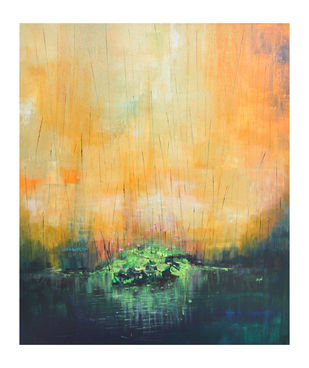 The Dusk by Kayalvizhi Sethukarasu, Abstract Painting, Acrylic on Canvas, Limed Spruce color