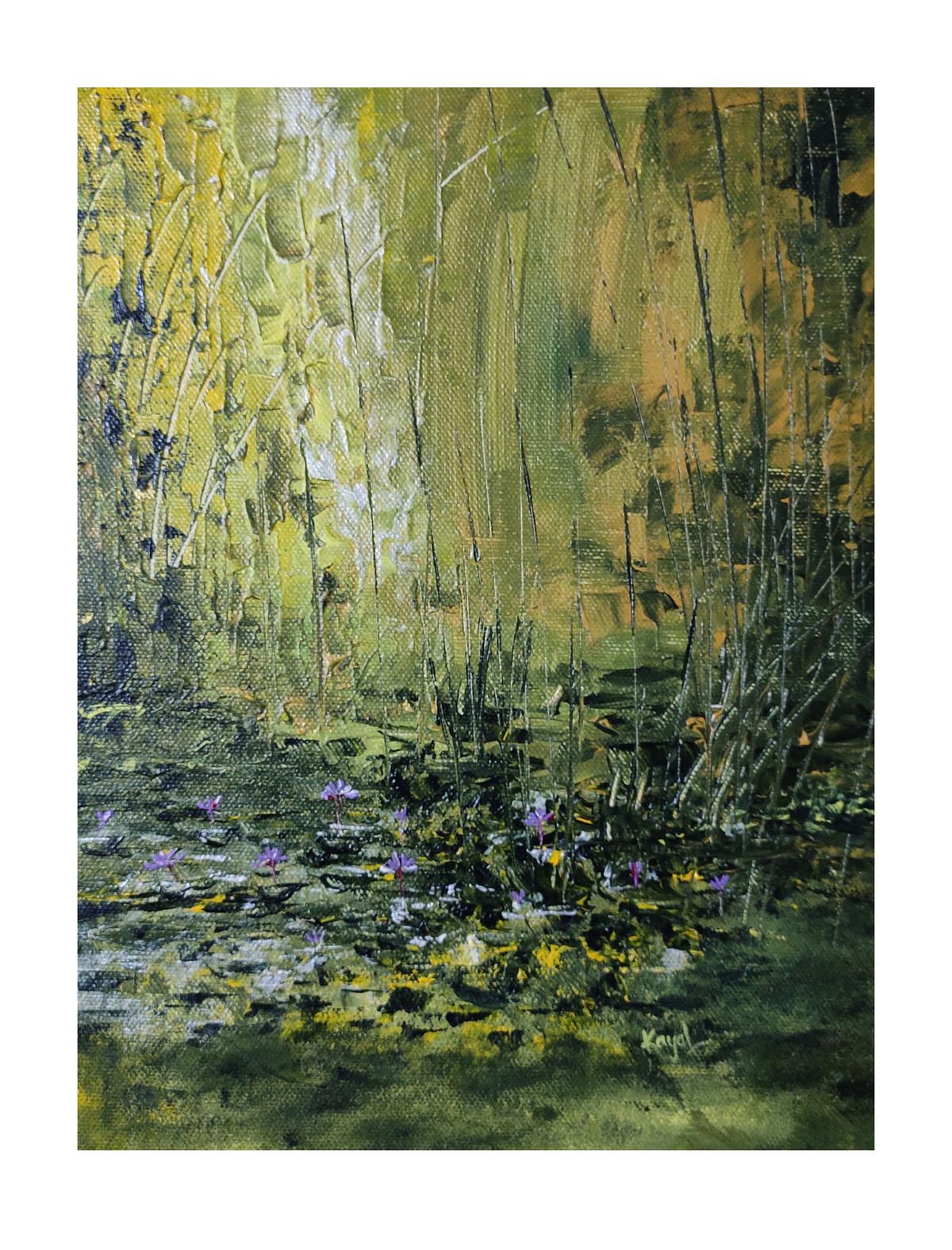 Enchantment of Lotus by Kayalvizhi Sethukarasu, Abstract Painting, Acrylic on Canvas, Kelp color