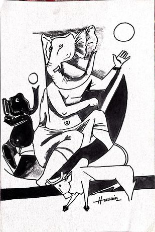 untitled by M F Husain, Illustration Drawing, Pen on Paper, Thunder color