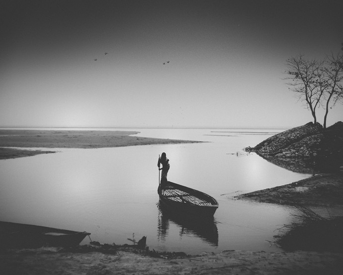 The Boatman by Anirban Ghosh, Image Photography, Print on Paper, Alto color