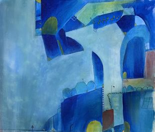 Blue city by Amit Pithadia, Abstract Painting, Acrylic on Canvas, Cerulean Frost color