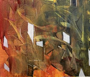 Cityscape by Amit Pithadia, Abstract Painting, Acrylic on Canvas, Old Copper color