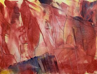 Cityscape by Amit Pithadia, Abstract Painting, Acrylic on Canvas, Sanguine Brown color