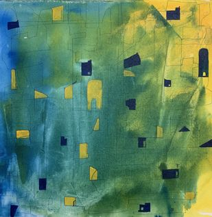 Cityscape by Amit Pithadia, Abstract Painting, Acrylic on Canvas, Viridian color