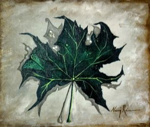 Maple Huesf from Kashmir by Neeraj Raina, Expressionism Painting, Acrylic on Canvas, Gray Olive color