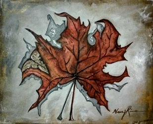 Maple Huesf from Kashmir 2 by Neeraj Raina, Expressionism Painting, Acrylic on Canvas, Lemon Grass color