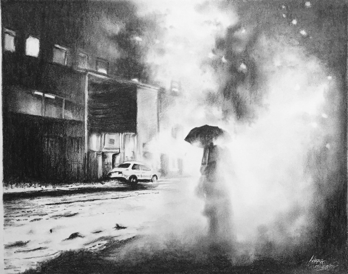 Through the smoke by Arijit Chakraborty, Illustration Drawing, Graphite on Paper, Alto color
