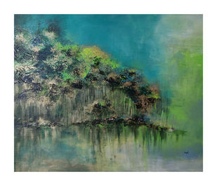 Serenity by Kayalvizhi Sethukarasu, Abstract Painting, Acrylic on Canvas, Glade Green color