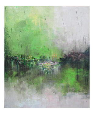 Flourishing Terrain by Kayalvizhi Sethukarasu, Abstract Painting, Acrylic on Canvas, Green Spring color