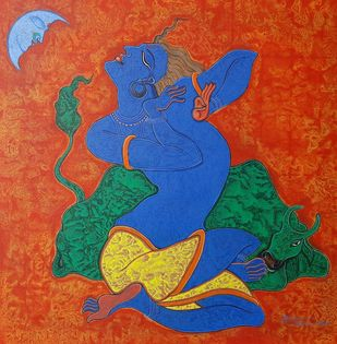 Krishna-1 by Ramana Peram , Expressionism Painting, Acrylic on Canvas, Tuscany color