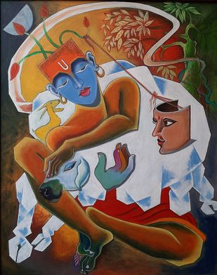 Krishna-2 by Ramana Peram , Expressionism Painting, Acrylic on Canvas, Saddle color