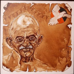 Bapu Birthday-150 by Ramana Peram , Expressionism Painting, Coffee wash, water colour, acid free on board, Brown Rust color