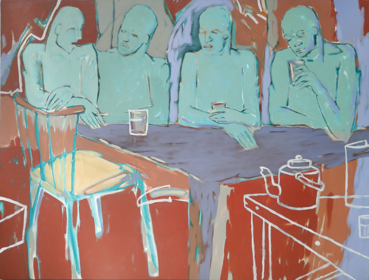 tea break by SAMEER DIXIT, Expressionism Painting, Acrylic on Canvas, Granny Smith color