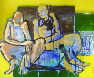 Rest by SAMEER DIXIT, Expressionism Painting, Acrylic on Canvas, Leather Jacket color