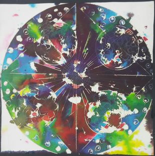 SPACE by subhashini vutla, Abstract Painting, Acrylic & Ink on Paper, Tiara color