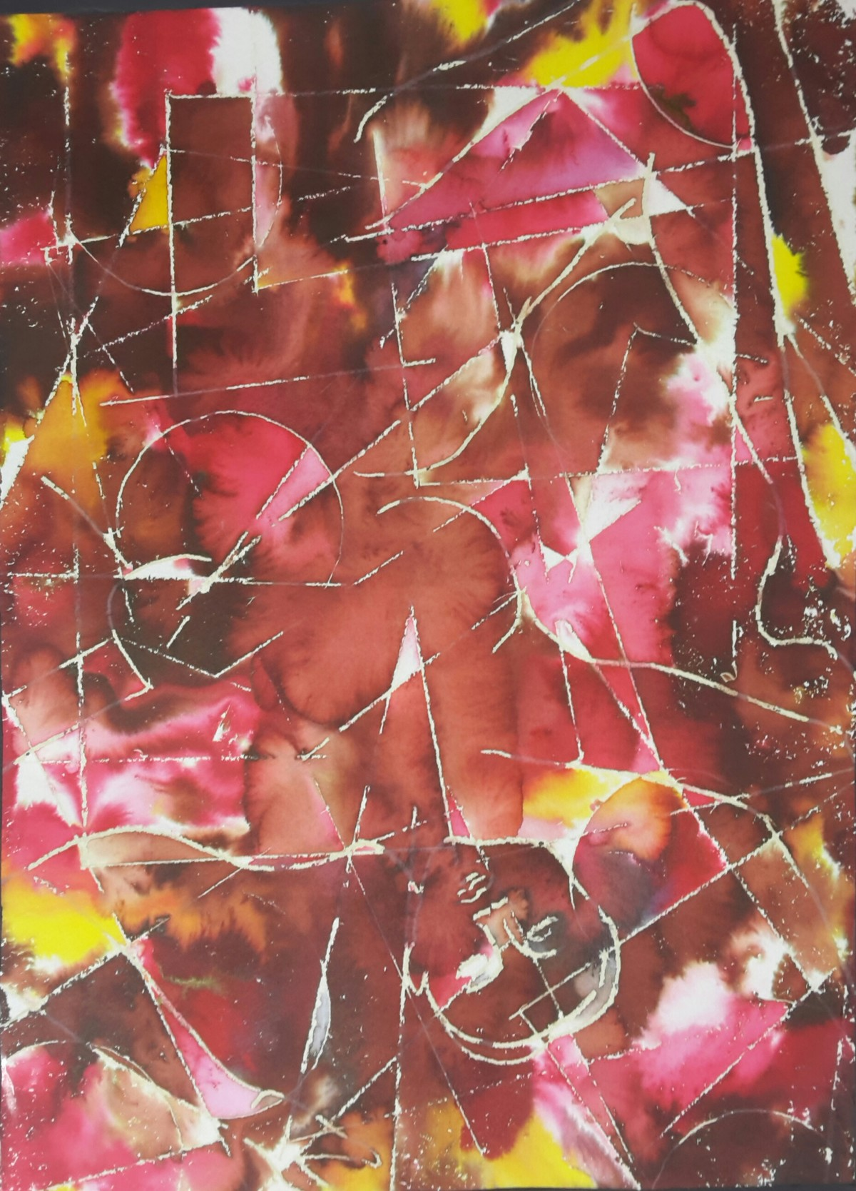 Untitled by subhashini vutla, Abstract Painting, Mixed Media on Paper, Copper Rust color