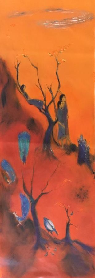 Symbiosis by Vyoma A Parikh , Expressionism Painting, Oil on Linen, Red Damask color
