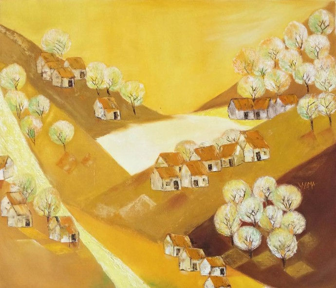 Amber dawn by Vyoma A Parikh , Expressionism Painting, Oil on Canvas, Old Gold color