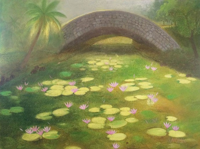 Lotus pond 3 by Vyoma A Parikh , Expressionism Painting, Oil on Linen, Gold Fusion color