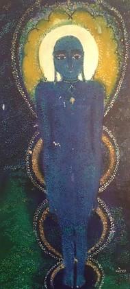 Parshwanatha by Vyoma A Parikh , Expressionism Painting, Mixed Media on Canvas, Mako color
