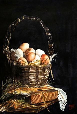 Eggs In Old Basket by Sabari Girish T, Realism Painting, Watercolor on Paper, Licorice color