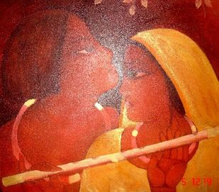 Krishna with She by Sekhar Roy, Traditional Painting, Oil on Canvas, Tuscany color