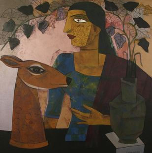 Untitled by Ashoke Mullick, Expressionism Painting, Acrylic on Canvas, Taupe color