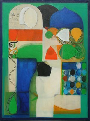 Untitled by Gopinath, Geometrical Painting, Acrylic on Canvas, Blue Dianne color