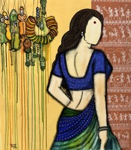 Laado by Mrinal Dutt, Expressionism Painting, Acrylic on Canvas, Shark color
