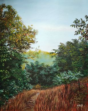 Path to solace by Dipali Samant , Impressionism Painting, Oil on Canvas Board, Geyser color
