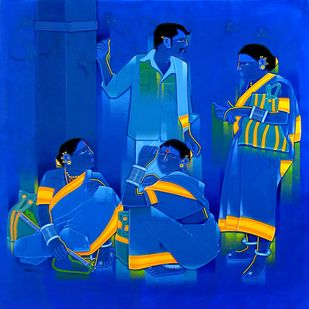 confer by Tailor Srinivas, Expressionism Painting, Acrylic on Canvas, Absolute Zero color