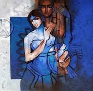 Symphony71 by Arvind Kolapkar, Expressionism Painting, Acrylic on Canvas, Astronaut color