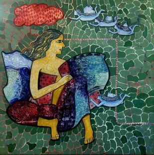 Freedom II by Harshada Kolapkar, Expressionism Painting, Acrylic on Canvas, Mineral Green color
