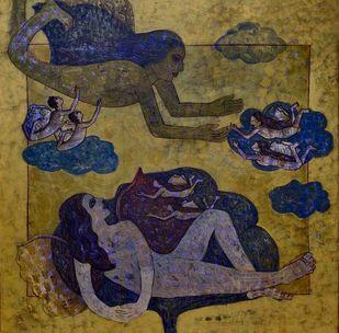 Prakruti IV by Harshada Kolapkar, Fantasy Painting, Acrylic on Canvas, Yellow Metal color