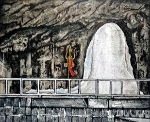 Amarnath Kashmir -The Shivalinga-By Neeraj Raina by Neeraj Raina, Expressionism Painting, Acrylic on Canvas, Tuatara color