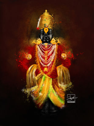 Lord Vitthal Digital Painting by Shreyansh Saurabh, Digital Digital Art, Digital Print on Canvas, Brandy Punch color