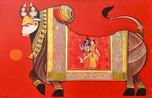 Nandishwara by Ashok Rathod, Traditional Painting, Acrylic on Canvas, Gold Sand color