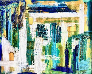 The Three Doors by Tasneem A Bharmal, Abstract Painting, Acrylic & Ink on Canvas, Tana color