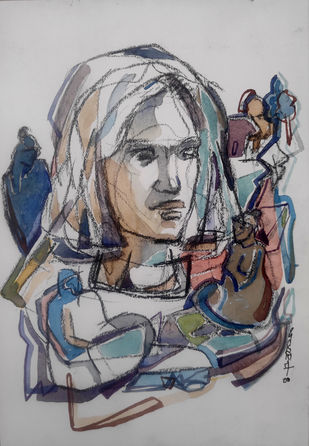 hidden stories 1 by SAMEER DIXIT, Illustration Drawing, Watercolor and charcoal on paper, Nobel color