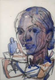 hidden stories 2 by SAMEER DIXIT, Expressionism Drawing, Watercolor and charcoal on paper, Cloud color