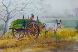 Bullock cart by Balakrishnan S, Impressionism Painting, Watercolor on Paper, Tower Gray color