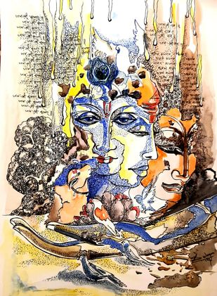 Trimurti of Peace by Sulagna Byapari, Illustration Painting, Ink/ watercolour/acrylic on handmade paper, Stark White color