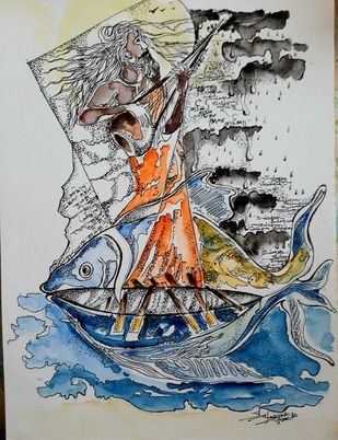 Song of Rain by Sulagna Byapari, Illustration Painting, Ink/ watercolour/acrylic on handmade paper, Gray Nickel color