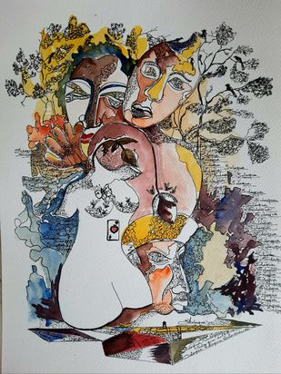Garden of Heaven by Sulagna Byapari, Illustration Painting, Ink/ watercolour/acrylic on handmade paper, Gray Nickel color