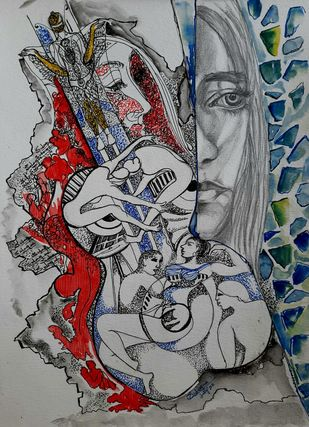 Ask The Mirror by Sulagna Byapari, Illustration Painting, Ink/ watercolour/acrylic on handmade paper, Oslo Gray color