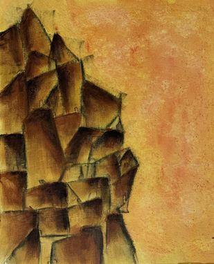 Cityscape by Amit Pithadia, Abstract Painting, Acrylic on Canvas, Tussock color